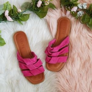 1.State Pink Leather Sandals